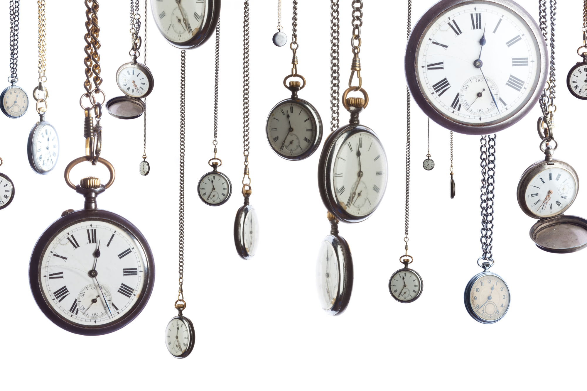 Pocket watches on chain isolated